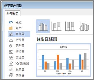 [插入圖表] 對話方塊會顯示圖表選項和預覽