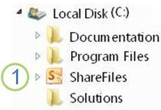 Windows 檔案總管中的共用資料夾圖示