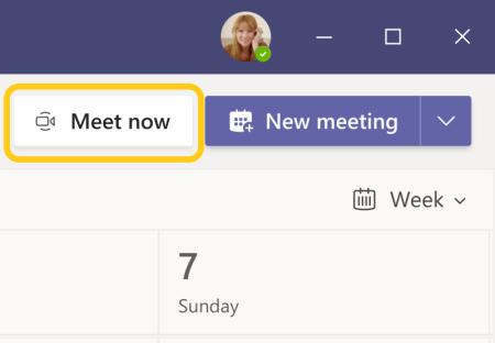 Teams 行事曆中的 [立即開會] 按鈕影像