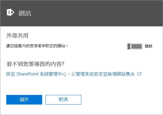 「讓組織外部的人員存取您的網站」設定關閉時的 [外部共用] 對話方塊螢幕擷取畫面。
