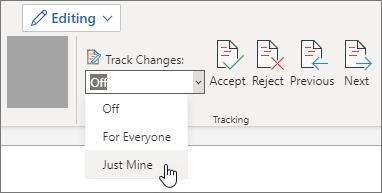 開啟僅自己的追蹤修訂。