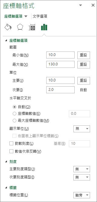 [座標軸格式] 選項面板