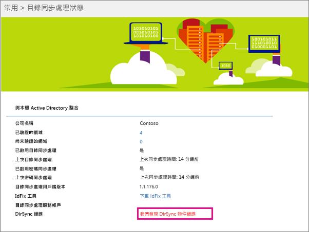 您可以在 [目錄同步處理狀態] 頁面上查看是否有 DirSync 物件錯誤
