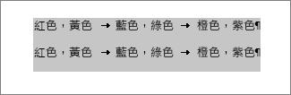 轉換成表格的文字