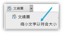 螢幕擷取畫面,顯示功能區上的 [縮小文字以符合大小] 按鈕。