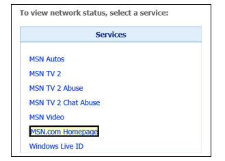 Network status page, services