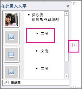 醒目提示 [文字] 和 [文字] 窗格控制的 SmartArt 圖形 [文字] 窗格