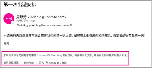 來賓所收到來自群組成員的所有電子郵件都會包含帶有指示和連結的頁尾。