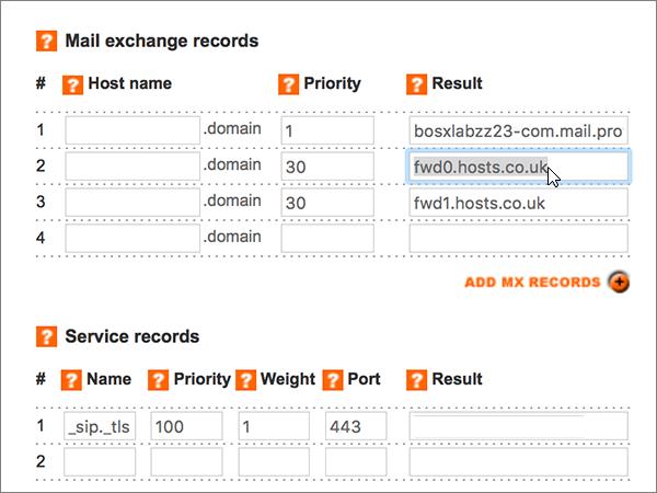 在 [郵件交換記錄] 區段中的刪除記錄