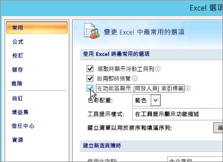 在功能區選項上顯示 [開發人員] 索引標籤