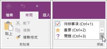 螢幕擷取畫面顯示 OneNote 2016 中的標籤清單。