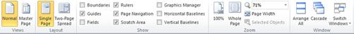 Publisher 2010 中與 [檢視]、[版面配置]、[顯示]、[縮放] 及 [視窗] 群組一起顯示的 [檢視] 索引標籤