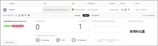 按一下使用者名稱或請參閱相關的充分抽屜活動記錄中的 IP 位址。