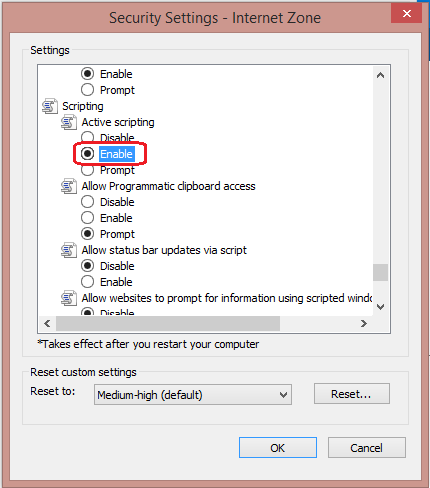 In the Security Settings – Internet Zone dialog box, click Enable for Active Scripting in the Scripting section.