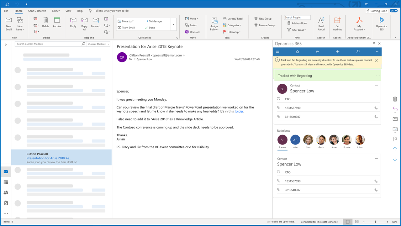 Dynamics 365 App for Outlook without Server-Side Synchronization screenshot