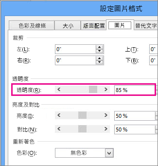 Publisher 中 [設定圖片格式] 對話方塊的螢幕擷取畫面。