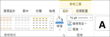 [表格工具] 索引標籤