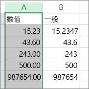 示範如何以不同的格式顯示數值,例如 [數值] 與 [通用] 格式。