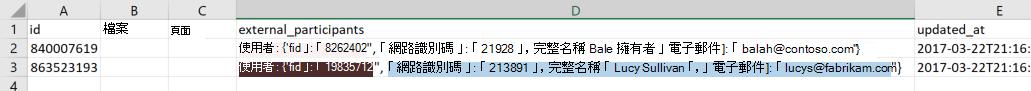 範例資料匯出檔案的螢幕擷取畫面