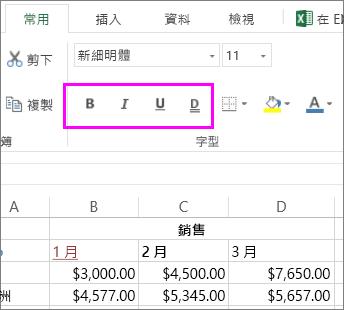 [字型] 群組中的按鈕可用來變更儲存格的字型樣式