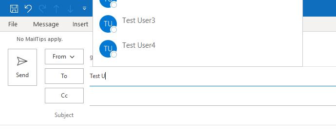 顯示 Outlook 自動完成功能的影像。 自動完成僅部分可見。