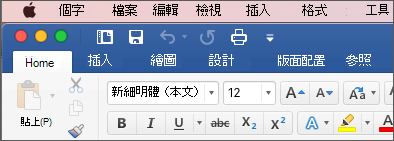 Word for Mac 中的功能區(在彩色主題中)