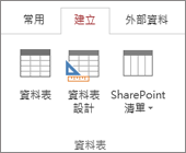 Access 功能區的 [建立] > [資料表設計] 命令