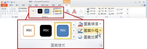 PowerPoint 2010 功能區之 [繪圖工具] 底下的 [格式] 索引標籤。