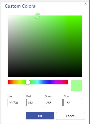 在 [自訂色彩」 對話方塊中,您可以使用十六進位值或紅色-綠色-藍色值來指定任何色彩。