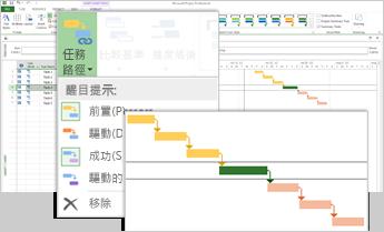 任務路徑功能表與醒目提示任務路徑的甘特圖長條