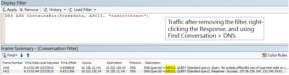 依 [Find Conversations] > [DNS] 篩選的追蹤。