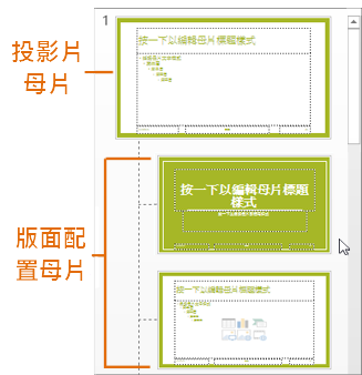 投影片母片檢視中的投影片母片與版面配置