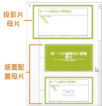 PowerPoint [投影片母片] 檢視中的投影片母片與版面配置