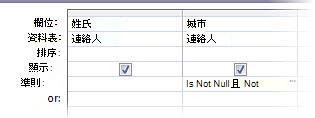 查詢設計工具,準則設定城市欄位非設為 Null 亦非空白。