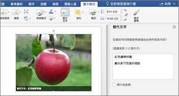 含有影像和右邊有 [替代文字] 窗格的 Word 文件