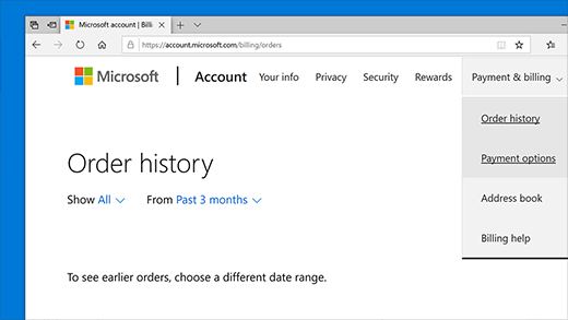 Check your Order history in your Microsoft account