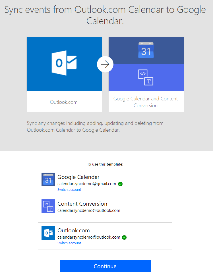 Google to Outlook template with connections