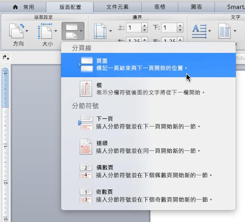 按一下 [分隔設定] > [頁面] 以插入分頁符號