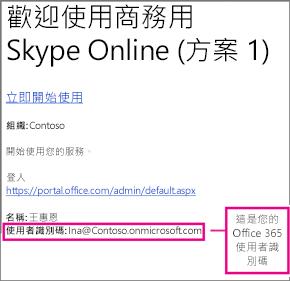 在您註冊商務用 Skype Online 之後所收到的歡迎電子郵件範例。 其中包含您的 Office 365 使用者識別碼。