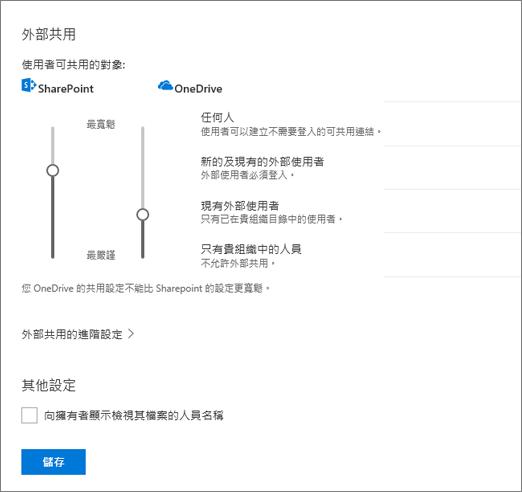 共用 OneDrive 系統管理中心中的設定