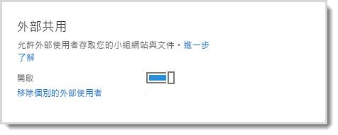 顯示允許外部使用者存取小組網站及文件之開啟/關閉控制項的圖像。