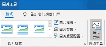 Windows 版 Outlook 功能區上的 [替代文字] 按鈕。