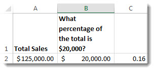 $125,000 位於儲存格 A2;$20,000 位於儲存格 B2;0.16 位於儲存格 C3