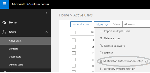 Select Azure multi-factor authentication from Office 365 admin center