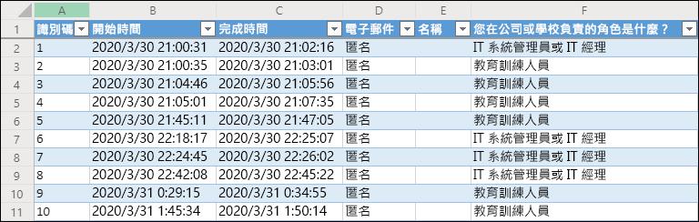 顯示調查結果的 Excel 活頁簿