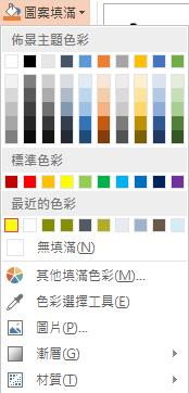 顯示色彩選擇工具的 [圖案填滿] 下拉式功能表