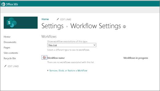 SharePoint 中 [工作流程設定] 頁面的螢幕擷取畫面,顯示即使已啟用工作流程,也無法選擇建立2010工作流程