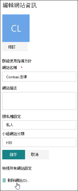 SharePoint 網站資訊面板