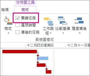 Project 2013 功能區的 [關鍵任務] 和醒目提示的甘特圖長條