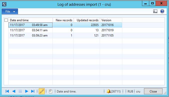 Import from FIAS - statistics log